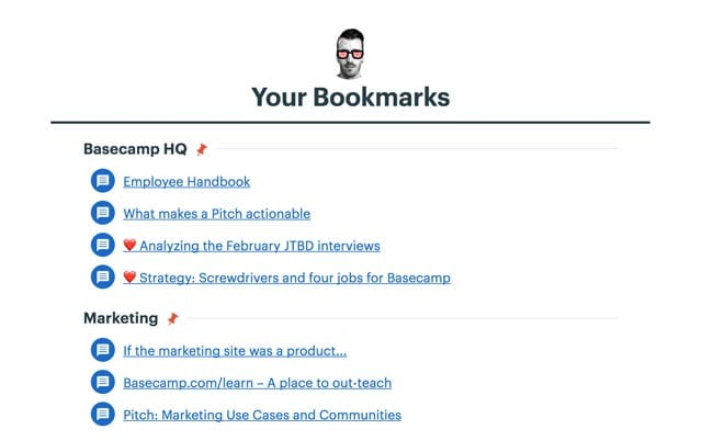 bookmarks listed on your home screen