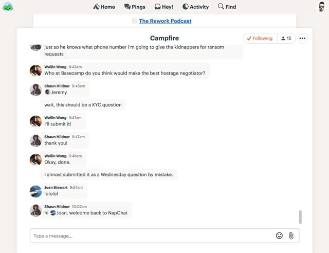 An example Campfire chat room in Basecamp 3
