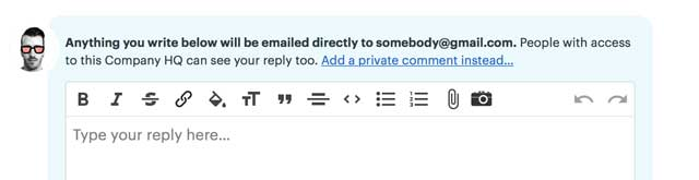 response options for email forwards in Basecamp 3