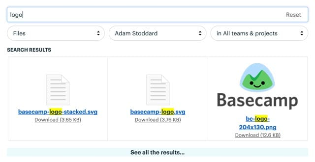 Basecamp 3's search interface