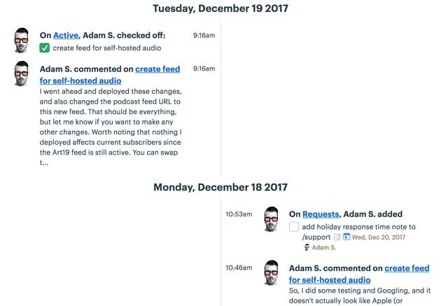 the timeline view of everything that's happened in Basecamp