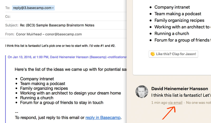 example email sent from Basecamp 3