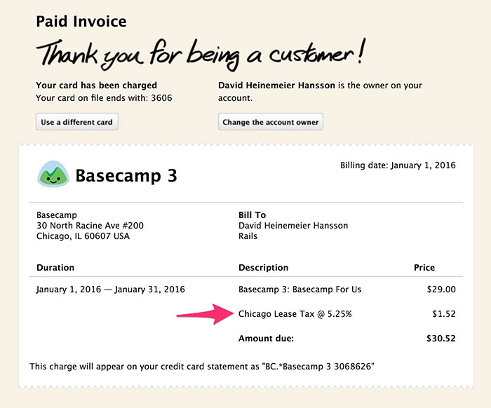 example of Basecamp invoice with arrow pointing to Chicago tax line item