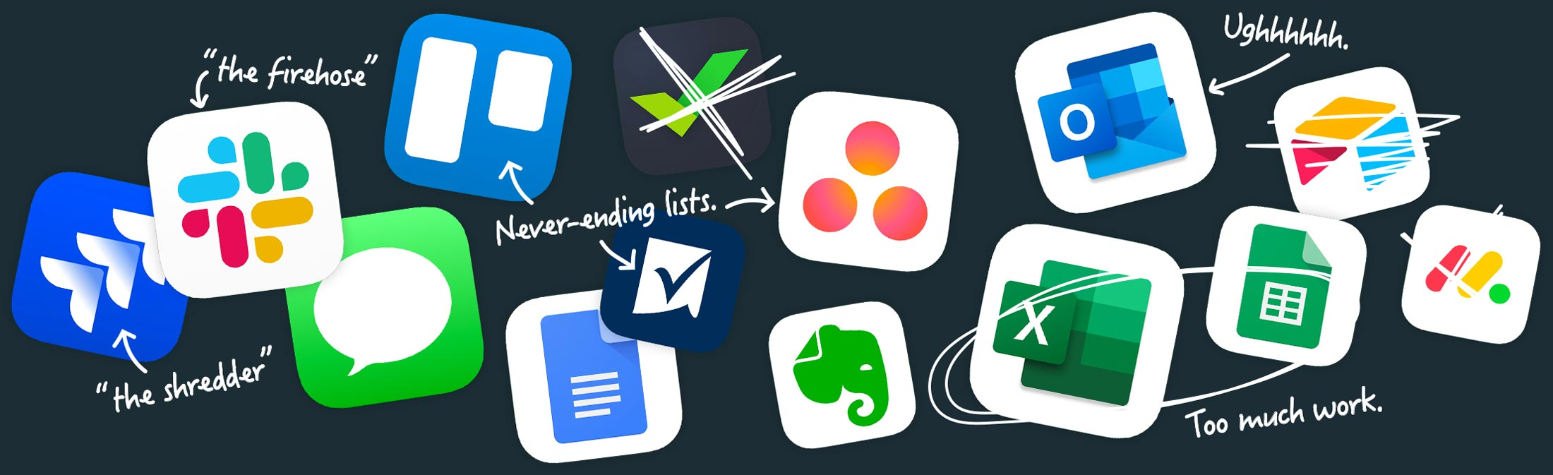 app icons of all the tools customers used before Basecamp