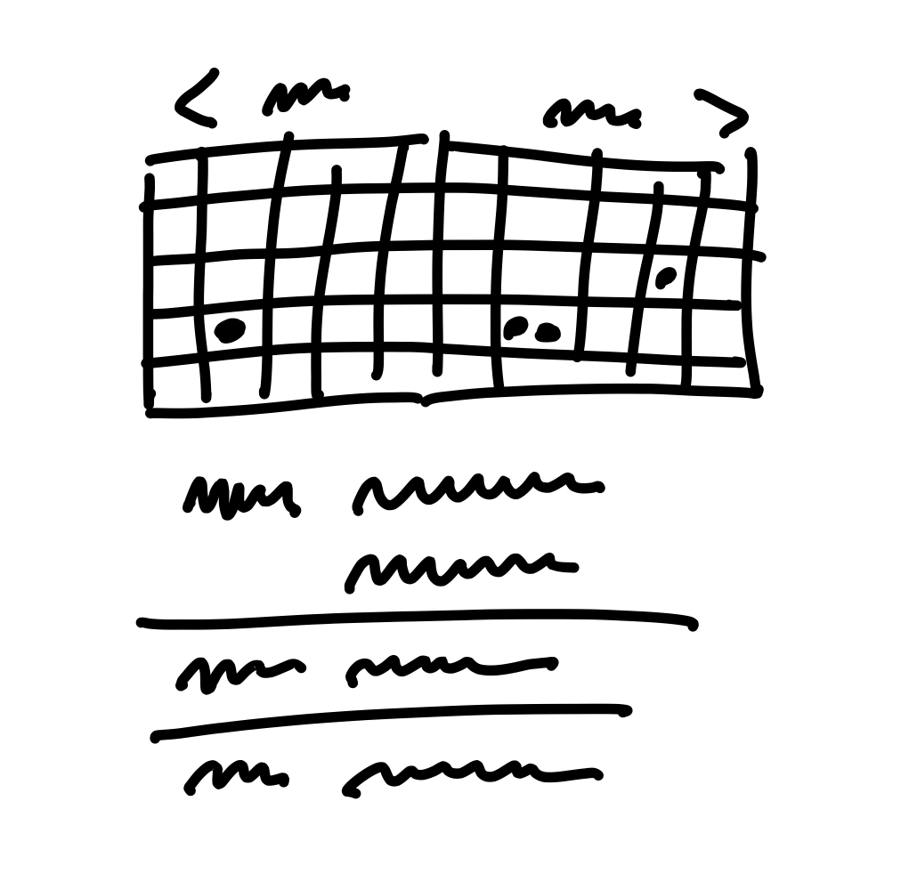 A rough sketch showing two monthly calendars side by side. Some of the days in the calendar have dots in them. Below the calendar grid, rough lines suggest a list of events.