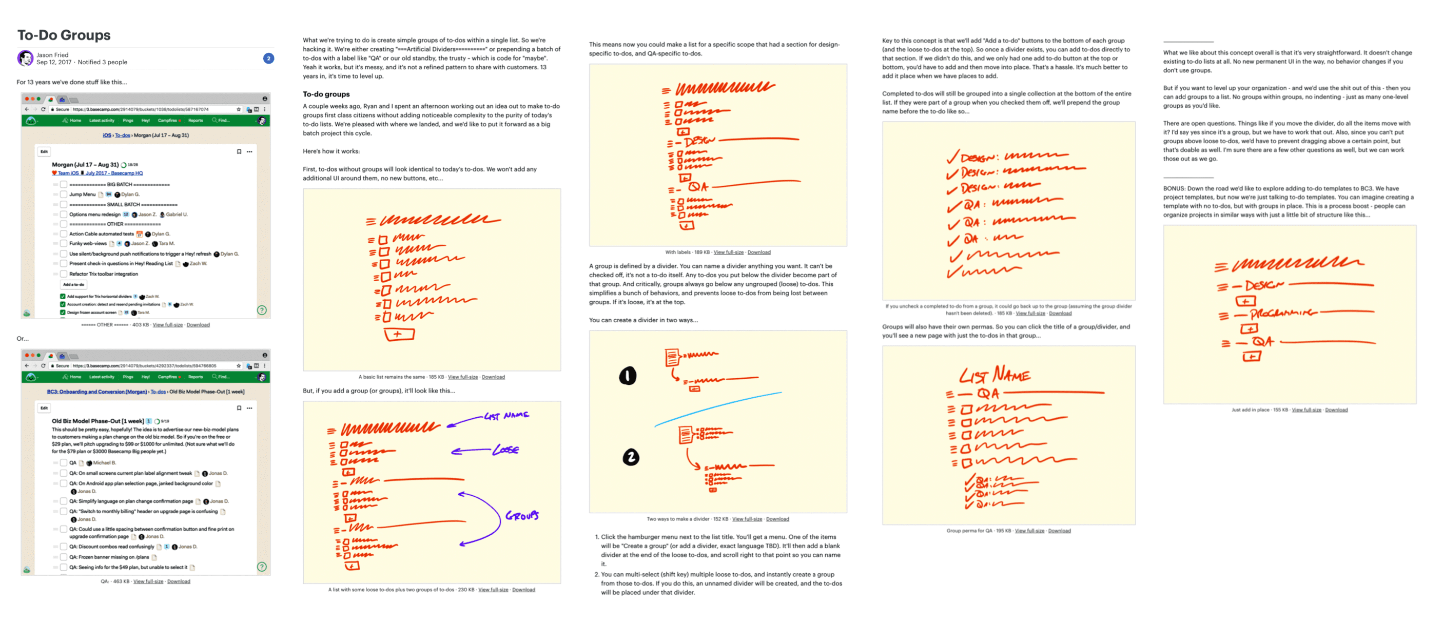 A scaled-down screenshot of a full pitch for the To-Dos feature. It looks like a document. The document starts with two screenshots demonstrating the workaround for grouping to-dos without the feature. Then five fat marker sketches follow that show the shaped idea. Paragraphs of explanatory text surround each sketch.