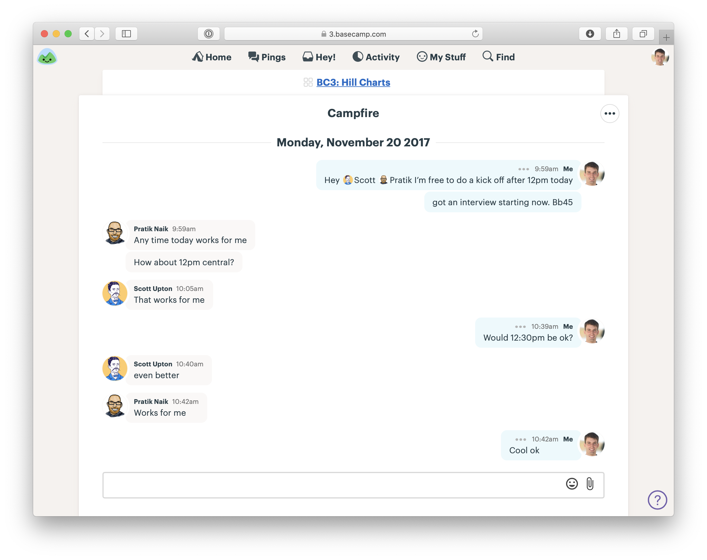 Screenshot of the Campfire chat room in Basecamp. The three people on the project discuss when to have the kick-off call.
