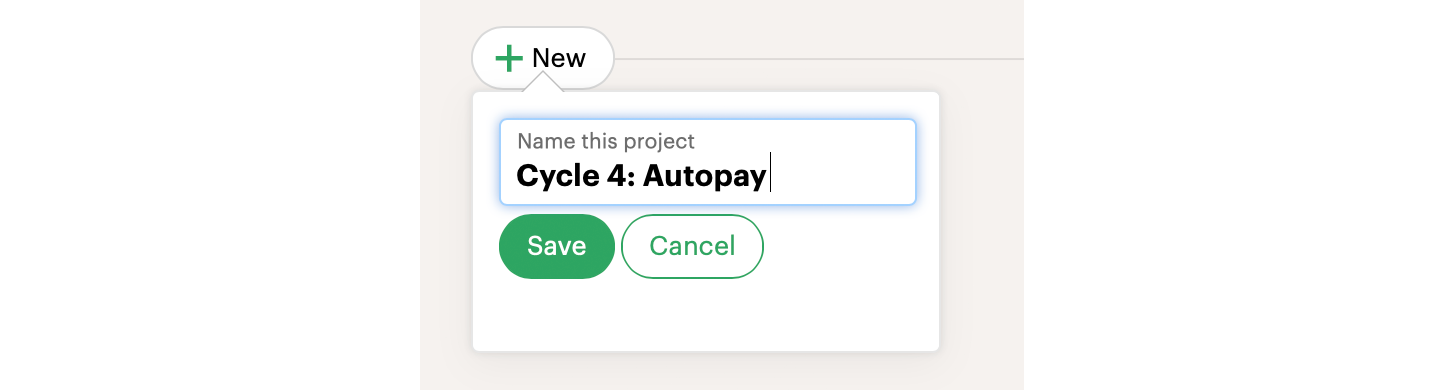 Screenshot of creating a project in Basecamp named: Cycle 4: Autopay