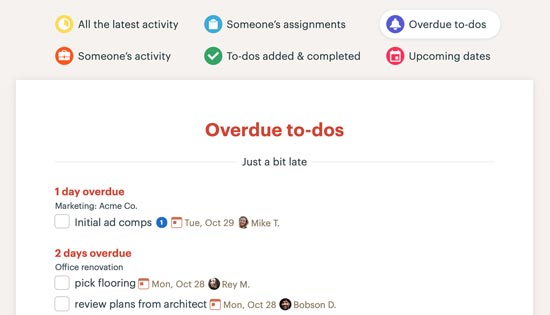 overdue to-dos in Basecamp