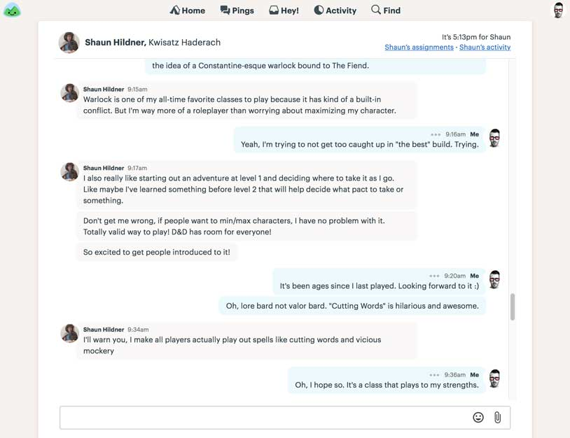 a direct message chat in Basecamp
