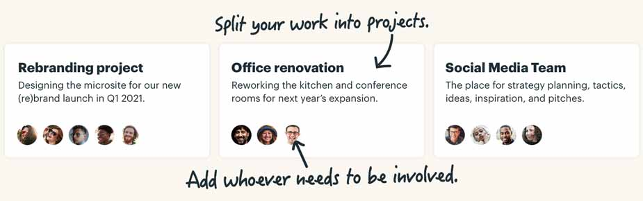 Split your work into projects. Add whoever needs to be involved.