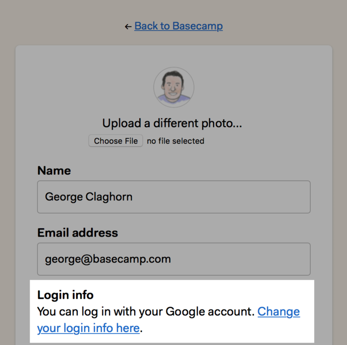 Change your login info here